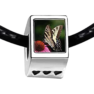 Chicforest Silver Plated Beautiful Gather Pollen Butterfly Photo Three Heart Charm Beads Fits Pandora Bracelet