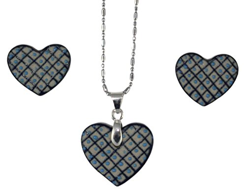 (Pendant and Earrings Set, Mexican Handmade Jewelry, Mexican Handcraft (Checkered Heart))