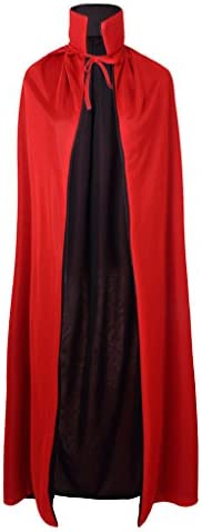 Black and Red 55 Stand Collar Reversible Cloak Masquerade Cape Costume