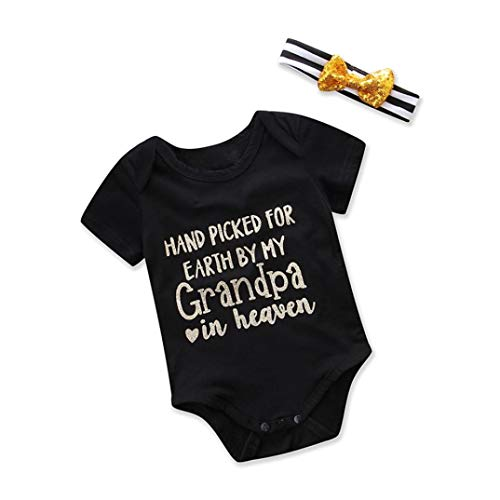 Infant Baby Boys Girls Funny Letter Romper Jumpsuit Headband Outfits Onesie (3-6 Months, Black) -
