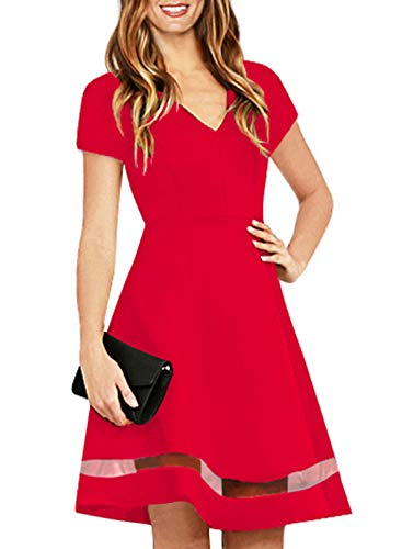 Womens Red Short Sleeve Cute Fit and Flare Modest Semi Formal Skater Dress