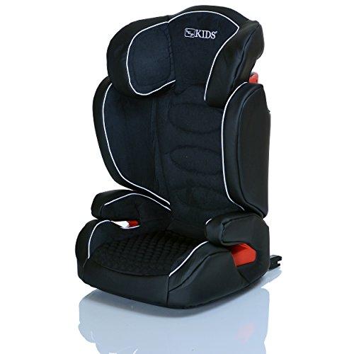 LCP Kids Kinderautositz Neptun iFix JetBlack Isofix 15 bis 36 kg Gruppe 2 und 3 - wächst mit dem Kind da Kopfstütze und Seitenschutz verstellbar - schwarz