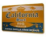 California Surf Big Waves Aluminum Sign in Orange