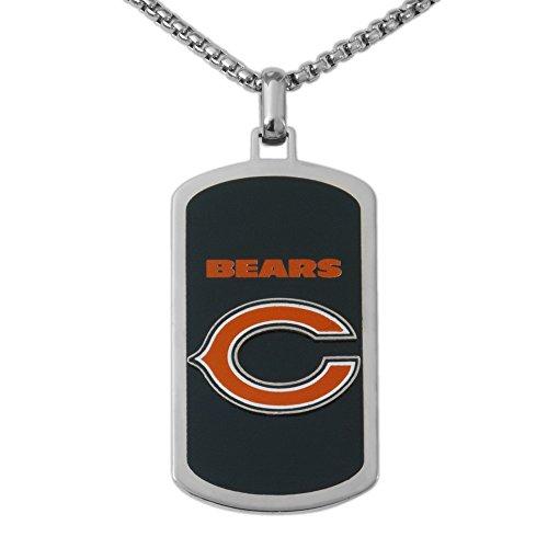 NFL Chicago Bears Men's Stainless Steel Dog Tag Logo Pendant, 22