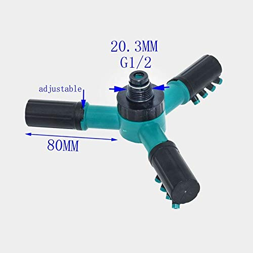 (Ganos Water Nozzle Three-arm Sprinkler Watering Head Lawn 3 Sprinklers Durable Rotary 1pcs)