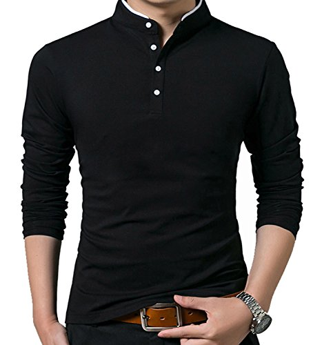 YTD Mens Summer Slim Fit Pure Color Short Sleeve Polo Casual T-Shirts (US Large, Long Sleeve (Fashion Polo T-shirt)