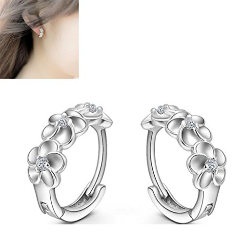 Usstore 1Pair Women's Silver Flower Plated Crystal Rhinestone Alloy Ear Stud Earrings Jewelry Gift (20ct Princess Cut Diamond)