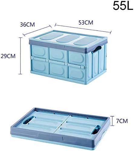 XINTONGLO Caja de almacenaje Plegable de plástico con Tapa de Cubos 55L Cesta portátil para el Coche: Amazon.es: Hogar