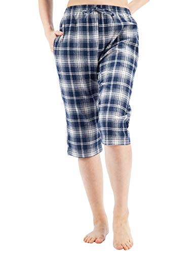 WEWINK CUKOO Cotton Women Pajama Capri Pants Plaid Lounge Pants with Pockets Sleepwear (S=US 4-6, Navy Plaid) (Checked Pants Pajama Flannel)