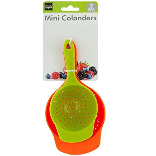- Brandobay Plastic Mini Colanders Set 2 Pack Kitchen Mesh Food Strainers Colander Handles Harvest Baskets Red Lime Green 6.5 and 7.5 Inch Strainer For Pasta Vegetables and Fruits