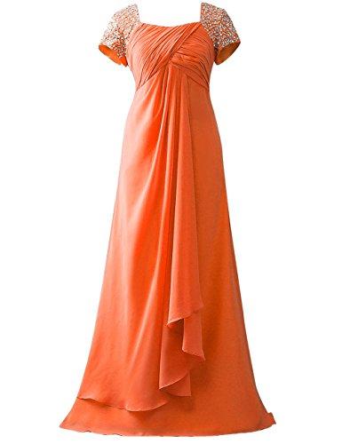 Empire HUINI Orange Partykleider Lang Abendkleider A Chiffon Linie Hochzeit Pailletten Kleider Brautmutterkleider qxfaIZwB
