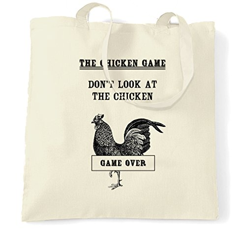 Funny Tote Bag Don't Look At The Chicken Game Joke Natural One Size