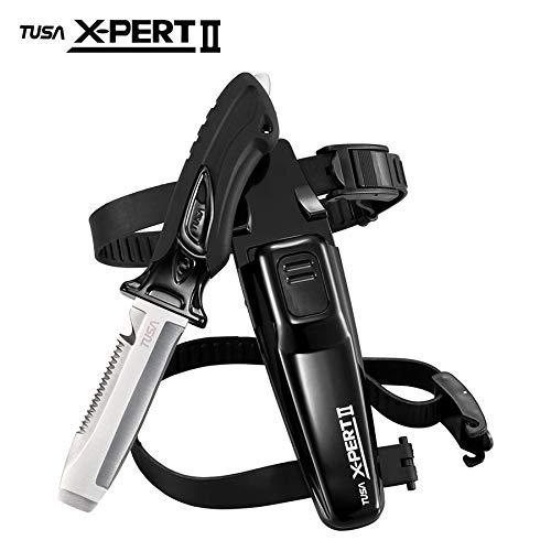 (TUSA FK-920 X-Pert II Dive Knife, Blunt Tip, Black)