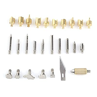 Wood Burning Pen Set Kit Wood Burning Soldering Chiseled Tips Hot Blade With Chuck Assorted Woodworking Tips 28 Piece