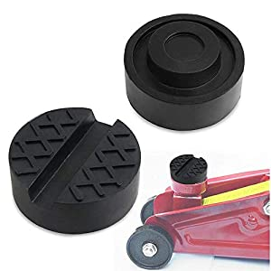 ZHUBANG Robust Rubber Jack Pads 2 Pcs Black Rubber Pads Grooves Universal Slotted Jack Pad Block Protect Trolley Vehicle 65mm X 25mm Black