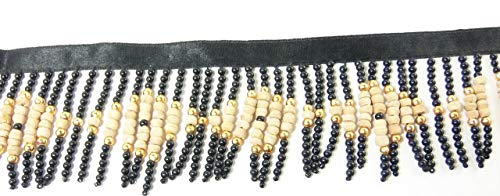 3 Yards Hanging Beaded Fringes- Unique Black Pearls
