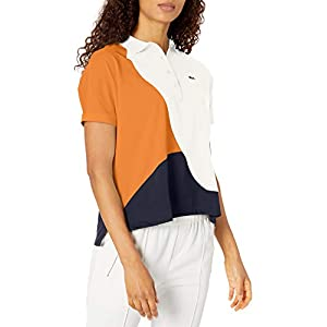 Lacoste Womens Short Sleeve Regular Fit Color Block Polo Shirt