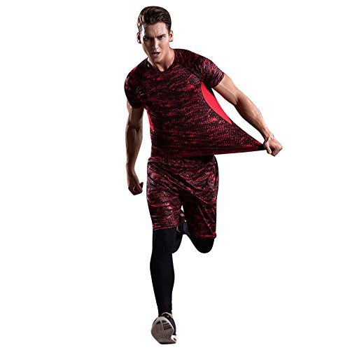 - Corriee Mens Sport Suit Fitness 3 Pieces Men's Workout Leggings Athletic Pants Shirt Quick Dry Red