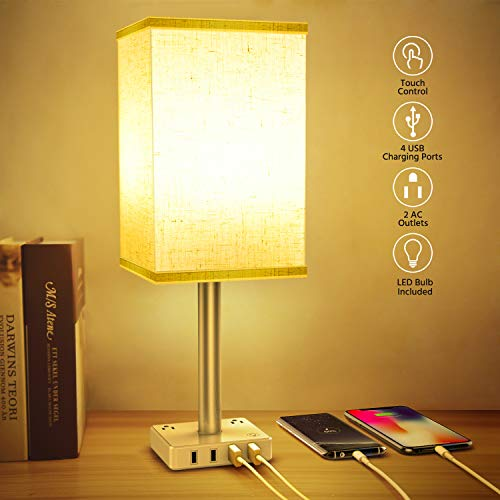 Touch Control USB Table Lamp, 3-Way Dimmable Nightstand Lamp with 4 Fast Charging USB Ports & 2 Outlet, Bedside Modern Table Lamp Included 2700K 800LM Bulb for Bedrooms Living Room Office Reading