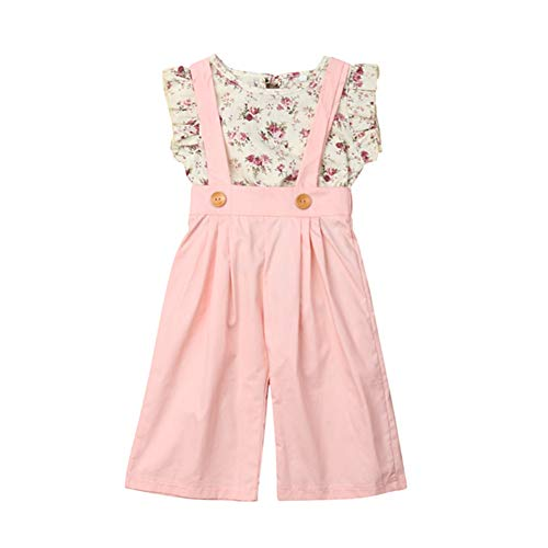 Toddler Kids Baby Girl Floral Ruffle Top T Shirt+Suspender Overalls Wide Leg Pants Outfits Summer Clothes Set (Pink, 4T-5T)