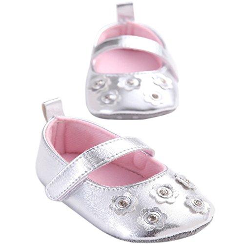 etrack-online bebé niñas Bling Bling Flor Suave Suela Zapatillas zapatos plateado Talla:12-18months plateado