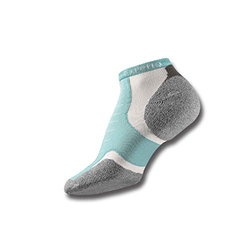 Thorlos Thin Cushion Experia Micro Mini Crew Sock Size: M, Spearmint with a Helicase Sock Ring