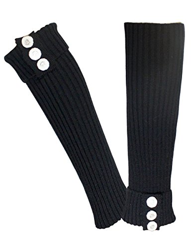 Dahlia Women's Leg Warmers - Fold Cuff Triple Buttons - Black