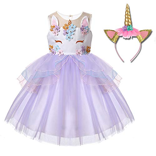 Girl's Unicorn Dress Flower Girls Unicorn Costume Pageant Princess Party -
