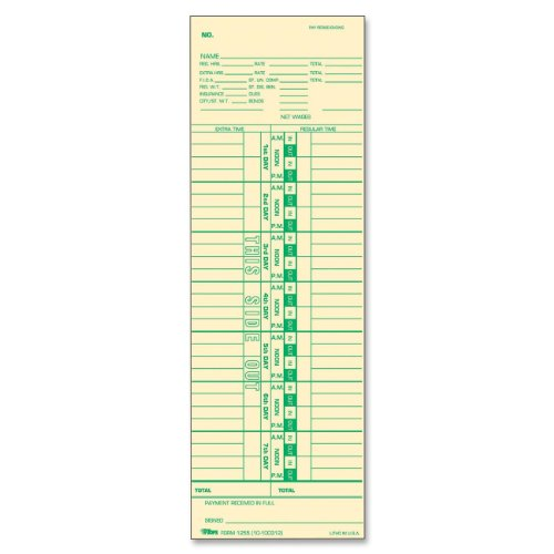 TOPS Time Cards, Weekly, 1-Sided, Numbered Days, 3-1/2'' x 10-1/2'', Manila, Green Print, 100-Count (12553) by Tops