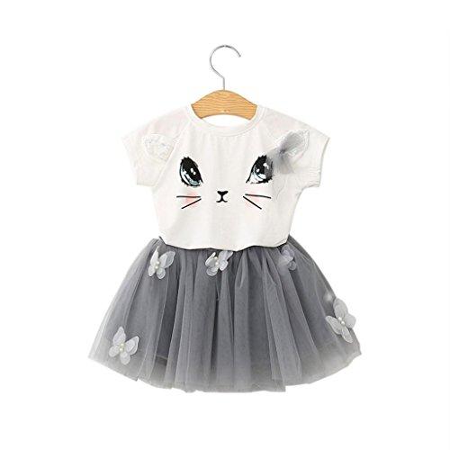 Summer Kids Girls Cat Pattern Shirt Top Butterfly Tutu Skirt (6 Years) (Cat Tutu)