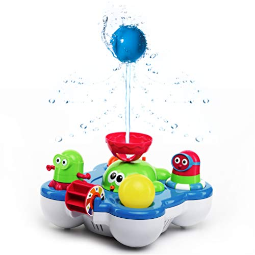 Baby Bath Toys for Kids - Whale Island Bathtub Toys - Best Baby Bath Toy Set - Bathtime Fun Tub Toys - Water Bath Toys with Bathtub Toy Organizer - Battery Operated Spray Water Pump Fountain Age 1 2 3