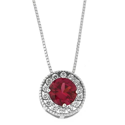 Beauniq 14k White Gold Simulated Ruby and Cubic Zirconia Slider Halo Pendant Necklace, 18 -