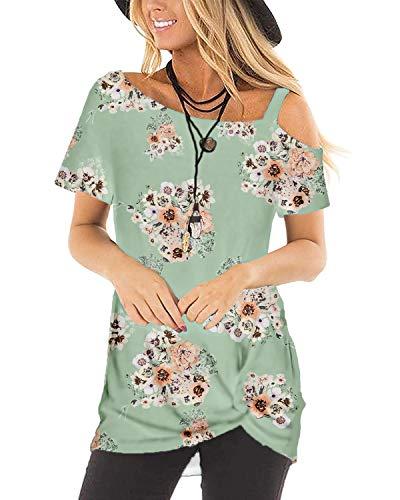 Women's Tops Tunics Boho Cute Floral T Shirt Hawaiian Dresses Tie Front Green S