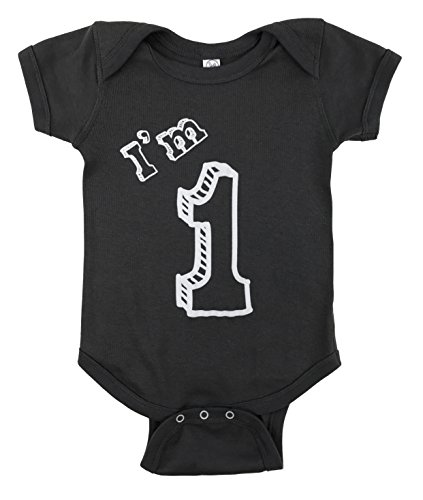 how-z-it 1 Bodysuit - One Year Old Birthday Party (12M, Charcoal) (1 Onesie)