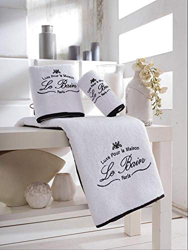 Parador Le Bain Collection Towels, 3 Piece Set - White/Black (Le Bain)