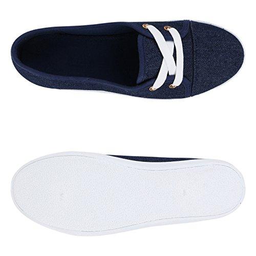 Sportliche Sneakers Damen Ballerinas Denim Stoffschuhe Schnürer Schuhe Halbschuhe Muster Lochung Flats Camouflage Spitze Flandell Denim Blau