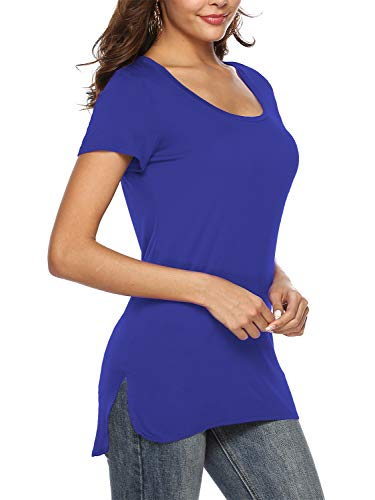 Florboom Womens Casual Cotton Split Blank High Low Long T Shirts Royal Bule XL