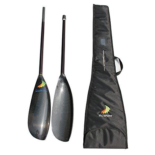 Z J SPORT Lightweight Carbon Fiber Kayak Paddle with Oval Shaft in 10cm Length Adjustment