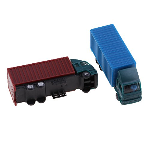 Baoblaze 2 Pieces N Scale Container Truck Freight Car Model Toy Kids Christmas Gifts