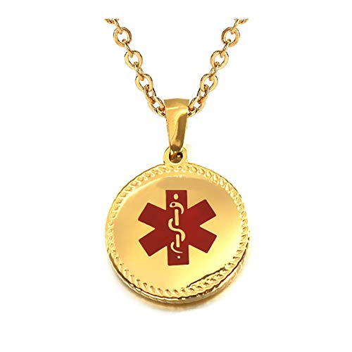 Round Medical Pendant - Stainless Steel Round Dog Tag Medical Alert ID Necklace for Kids Small Pendant with 20