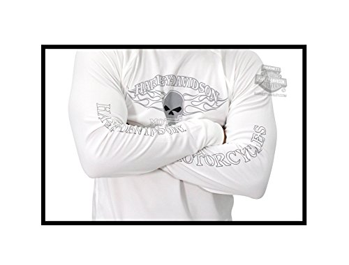 3c2ad3e4 Harley-Davidson Mens Performance Willie G Skull Flames White Long Sleeve  T-Shirt -