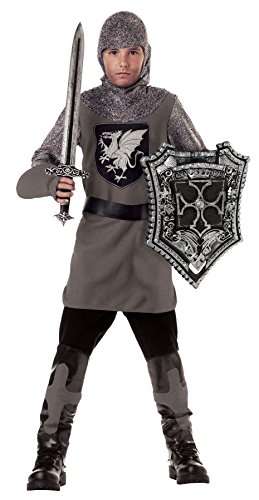 Valiant Knight Childrens Costumes (California Costumes Valiant Knight Boys Costume with Sword & Shield Bundle Costume, Black/Silver)