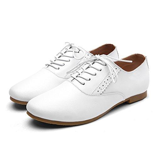planos de de de de de mujer de para Tamaño cuero estilo mujer Mujer artístico Zapatos HWF Blanco 35 Zapatos Zapatos estilo primavera individuales Blanco Zapatos estudiante Color IawPC6zq