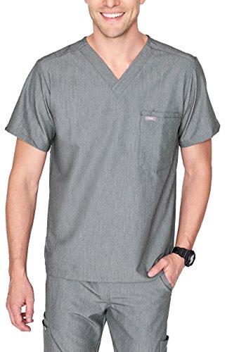 FIGS Medical Scrubs Men's Leon Two-Pocket Scrub top (Graphite, XS)