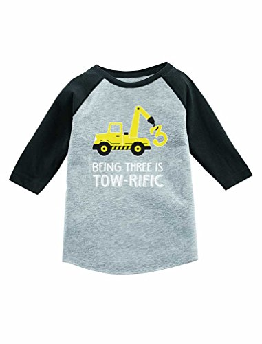 Tstars 3rd Birthday Tractor Construction Party 3/4 Sleeve Baseball Jersey Toddler Shirt 3T Dark Gray