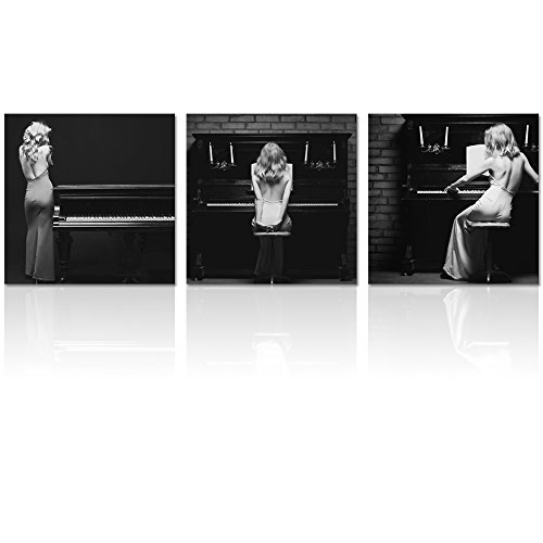 Visual Art Decor Sexy Elegant Woman Play the Piano Black and White Picture Giclee Canvas Prints Home Wall Bar Living Room Shop Wall - Shop Celebrity Fashion