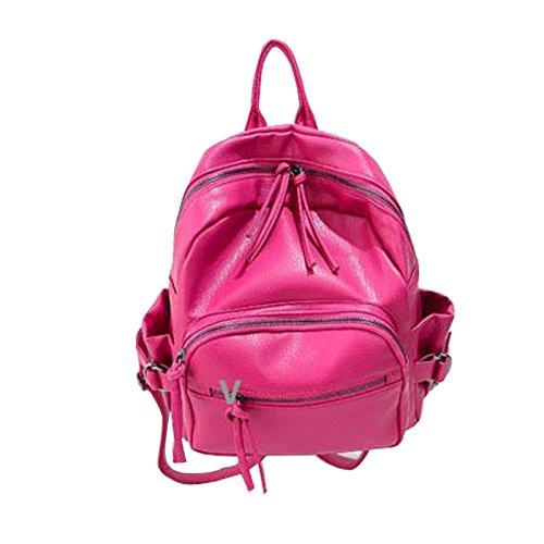 Gaorui Mochila Escolar Remache Cuero PU Suave Viaje Mujer Regalo Bolso de Hombro Bolsa Rosa