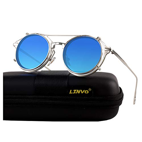 LINVO Clip on Steampunk Polarized Sunglasses Alloy Double Lens for Men and Women ()