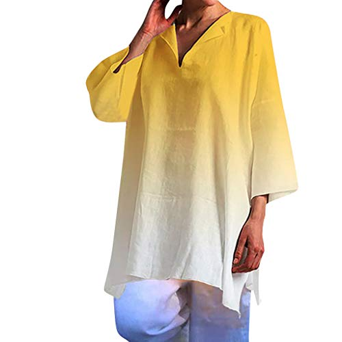 ⚡HebeTop⚡ Women's Gradient Casual T-Shirt Long Sleeve V Neck Tunic Sweatshirt Tops Blouse - Maxi Sofa Bear