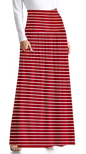 - Burgundy Maxi Skirts Striped Maxi Skirt Reg and Plus Size Maxi Skirt Ankle Length Skirt Long Skirts for Women (Size Medium US 4-6, Burgundy Stripe Ankle-Length)